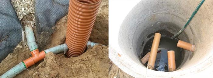 Отводные трубы в колодце