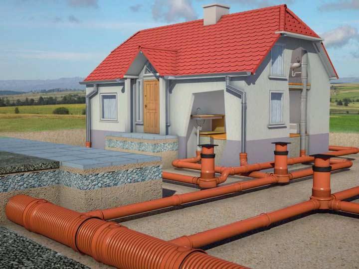 Монтаж внешней канализации частного дома