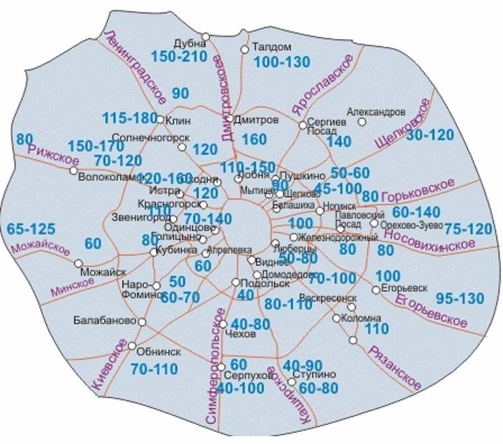 Москва. Карта глубин промерзания