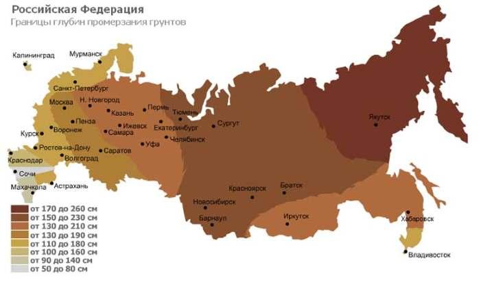 Россия. Карта глубин промерзания
