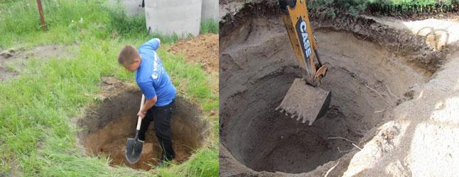 Копать яму лопатой или экскаватором