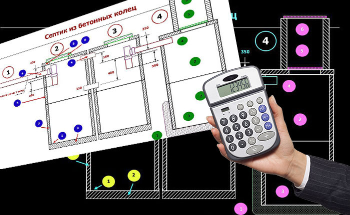Чертежи размещения септика и калькулятор в руке