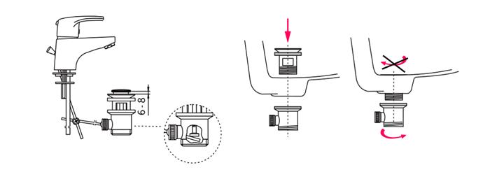 Установка смесителя и донного клапана