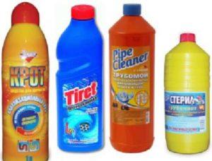 Бутылки с химией против засоров